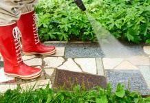Очистка садовой дорожки мойкой высокого давления