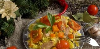 Плов из свинины с курагой и помидорами черри