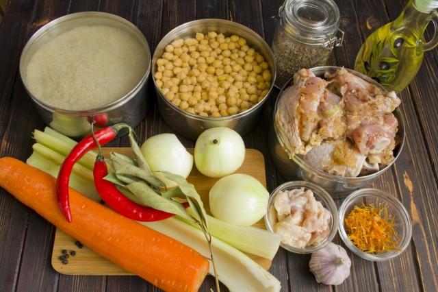 Ингредиенты для узбекского плова с нутом