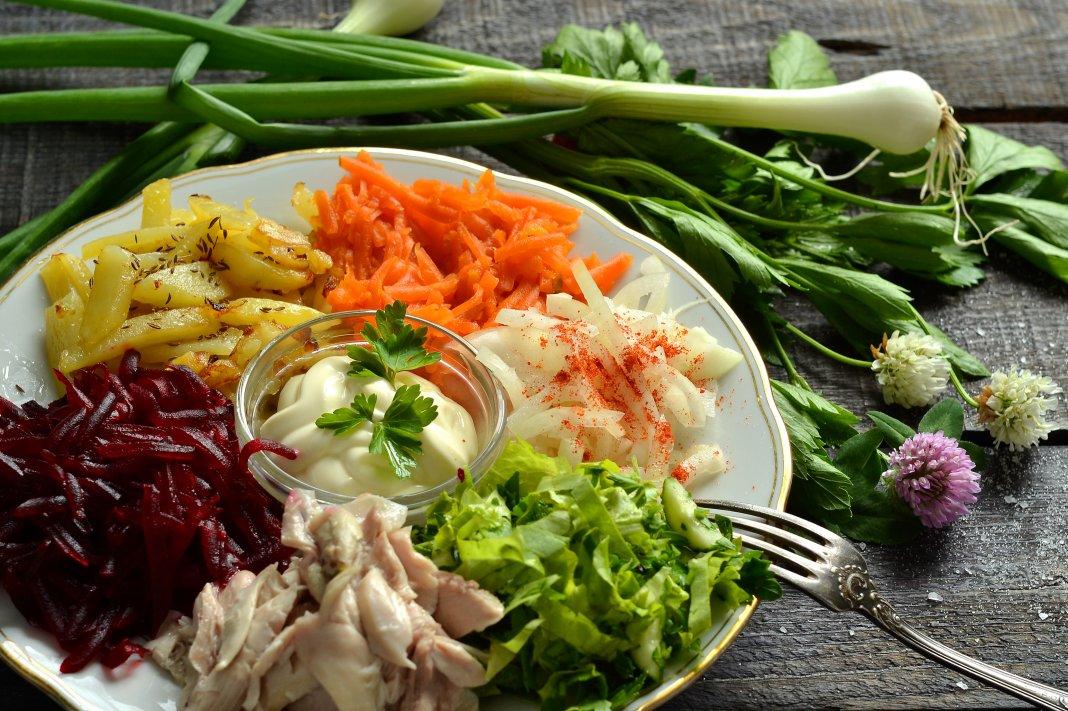Рецепты салатов с мясом радуга