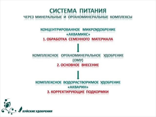 Схема применения комплекса удобрений «Система питания»