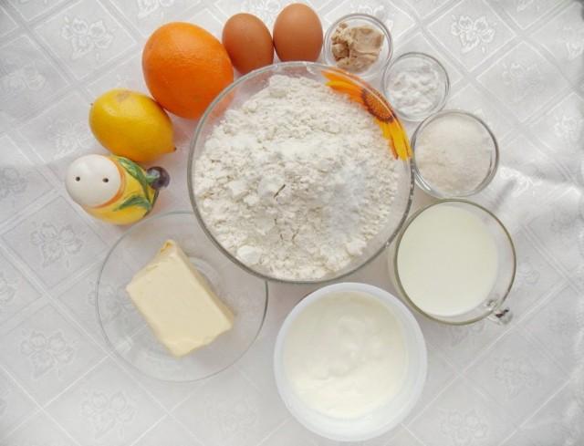 Ингредиенты для приготовления цитрусового хлеба со сливочно-лимонной глазурью