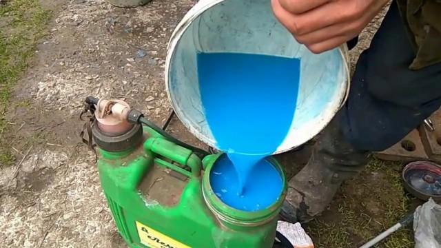 Приготовленный раствор бордоской жидкости