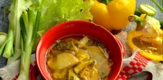 Свежие щи с курицей и листовым салатом