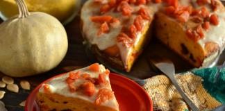 Тыквенный пирог на кефире с сухофруктами