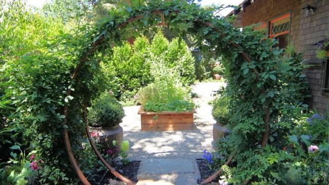Опора для вьющихся растений в виде круглой арки для направленного роста растений