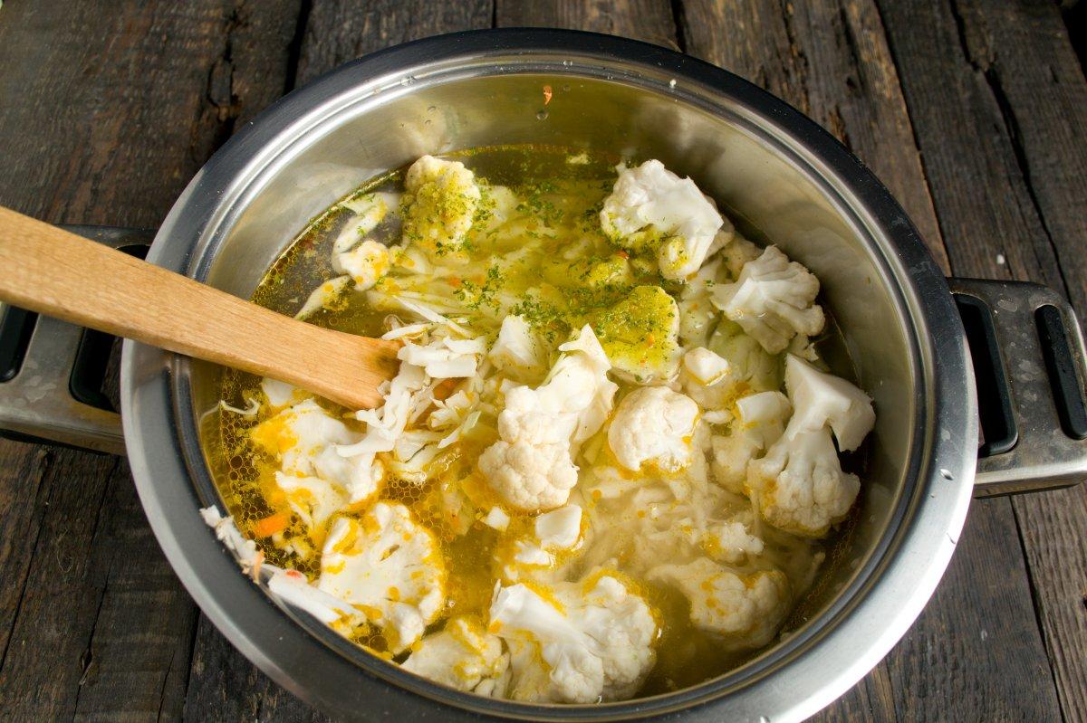 рецепт постного овощного супа с цветной капустой