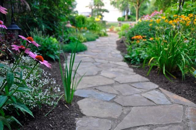 Цветник бордюр вдоль садовой дорожки