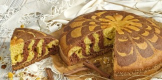 Домашний пирог на сметане «Зебра»
