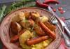 Гуляш из курицы с запечёнными овощами и колбаской