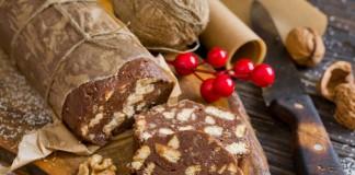 Шоколадная колбаска — десерт без выпечки