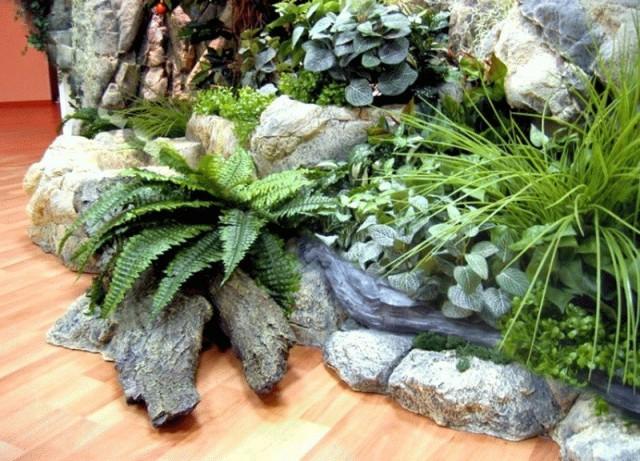 Стационарные каменные сады в комнатах требуют установки силами профессионалов
