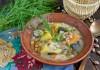 Грибной суп с фасолью и картофелем