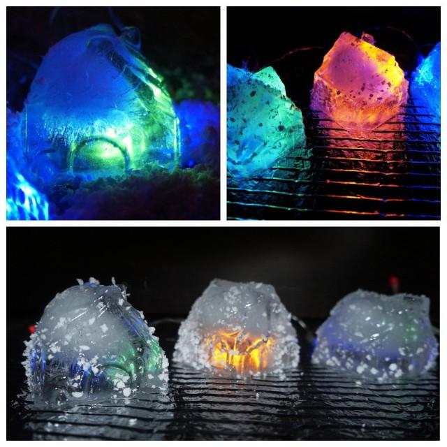 Эти ледяные игрушки сделаны на основе форм для кексов в виде домиков