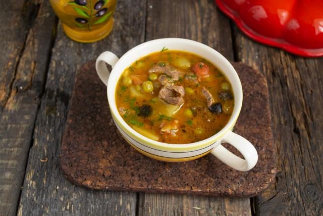 Быстрый гороховый суп с говядиной готов!