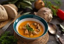 Нежный крем-суп с мидиями