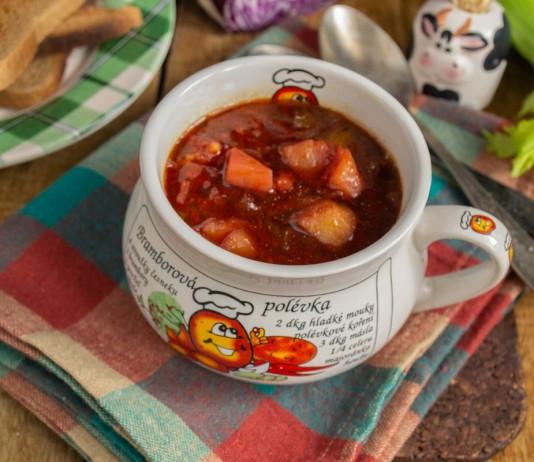 Полезный вегетарианский суп из краснокочанной капусты
