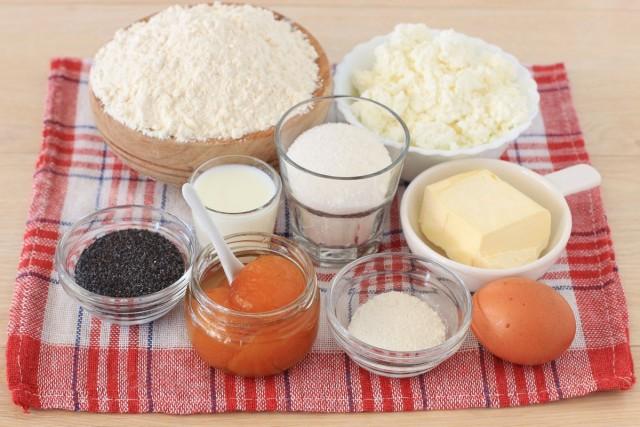 Ингредиенты для творожного печенья «Пасхальные яйца» с абрикосовым джемом