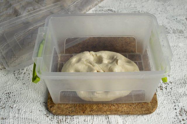 Кладём тесто в контейнер, плотно закрываем и оставляем на 1 час