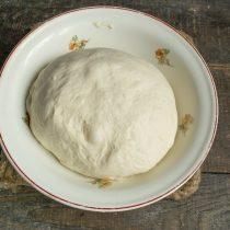 Смешиваем сухие ингредиенты с жидкими, замешиваем тесто, кладём его в миску и ставим в тёплое место