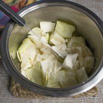 В глубокую посуду укладываем слой крупно порезанной капусты