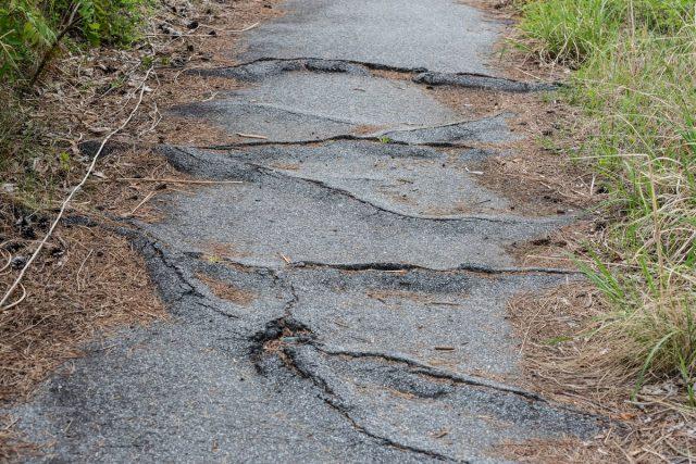 Волны на поверхности бетона являются признаками разрушения его деревьями