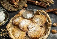 Хрустящее печенье из овсяных хлопьев с грецкими орехами