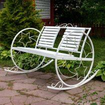 Белое кованое кресло-качалка с двойной спинкой